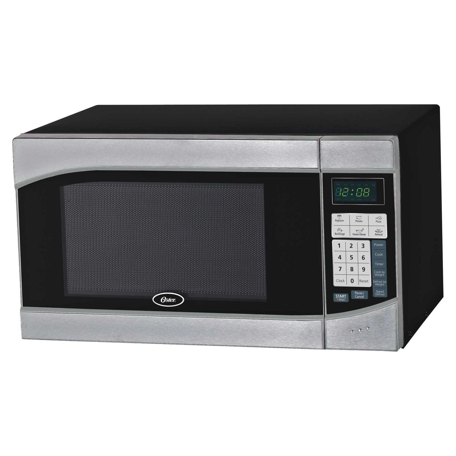 Oster 0.9 Cubic Foot Digital Microwave Oven, Stainless/Black