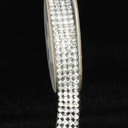 "Crystal Diamond Craft Ribbon Trim with Silver Setting .75"" x 2 Yards"