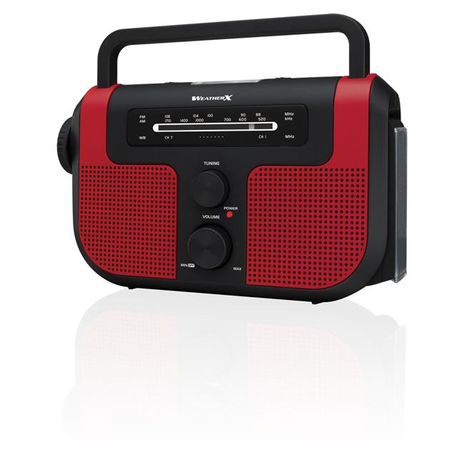 iLive WR383R AM-FM Weather Band Radio with Flashlight & Lantern