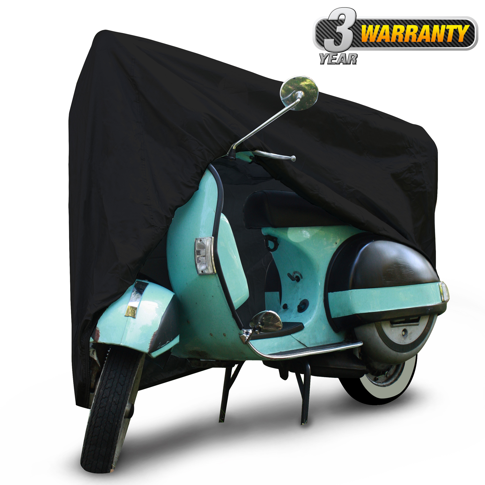 "Waterproof Outdoor Scooter Cover, UV Resistant Cover (Black), Size SC-1: Fits up to 49"" L"