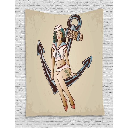 (Anchor Tapestry, Pinup Girl with Sailor Outfit Shark and Heart Tattoo Vintage Twenties Illustration, Wall Hanging for Bedroom Living Room Dorm Decor, 60W X 80L Inches, Multicolor, by Ambesonne)