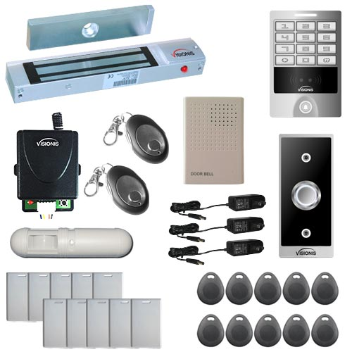 Visionis FPC-5614 One Door Access Control Out Swinging Door 300lbs Maglock, VIS-3004 Outdoor Weatherproof Metal Touch Keypad/Reader Standalone No Software EM Card Wireless Receiver and PIR Users Kit