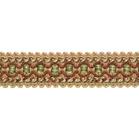 "Wine, Gold, Green 1"" Imperial II Gimp Braid Style# 0125IG Color: CHERRY GROVE - 4770 (Sold by The Yard)"