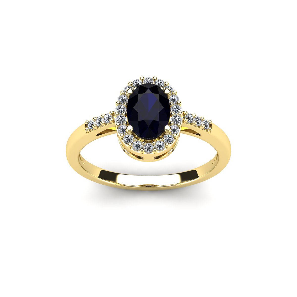 SuperJeweler 1 Carat Oval Shape Sapphire and Halo Diamond...
