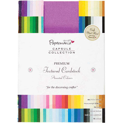 docrafts Papermania Premium Textured Solid Cardstock Pack A6, 75-Pack, Multicolor Multi-Colored