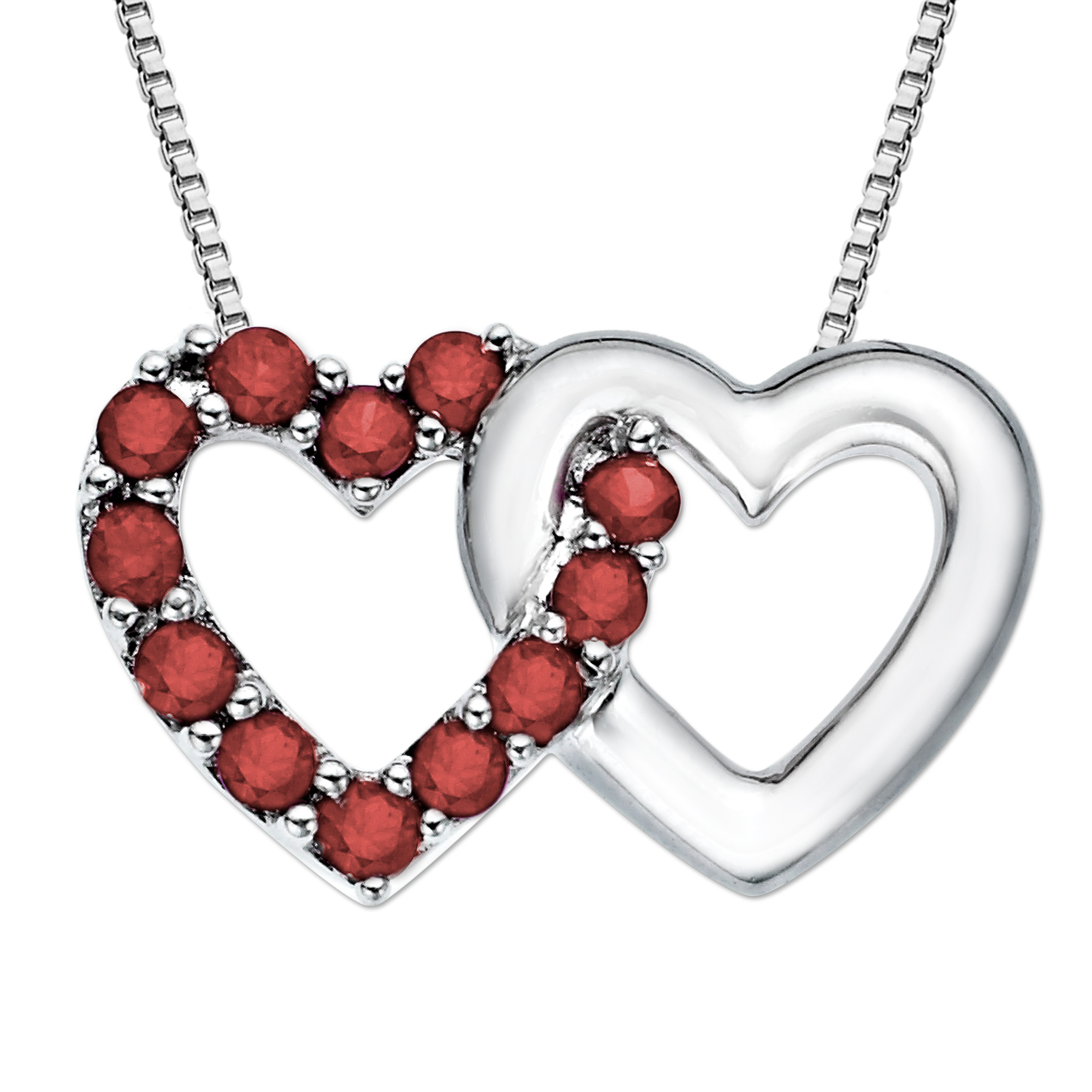 1/2 ct Created Ruby Linking Heart Pendant Necklace in Sterling Silver