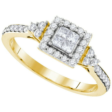 Size - 7 - Solid 10k Yellow Gold Princess Cut Round White Diamond Engagement Ring OR Fashion Band Invisible Set Square Shape Solitaire Shaped Halo Ring (.48 (Diamond Invisible Ring)
