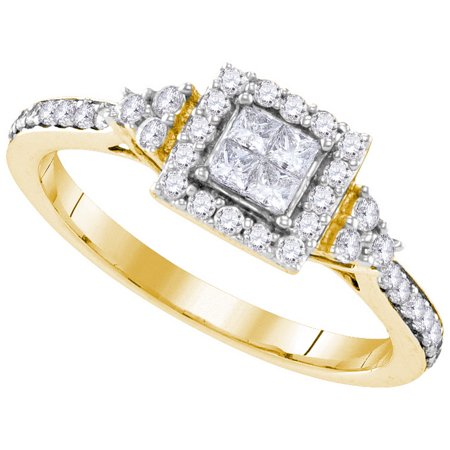 Size - 7 - Solid 10k Yellow Gold Princess Cut Round White Diamond Engagement Ring OR Fashion Band Invisible Set Square Shape Solitaire Shaped Halo Ring (.48 cttw)