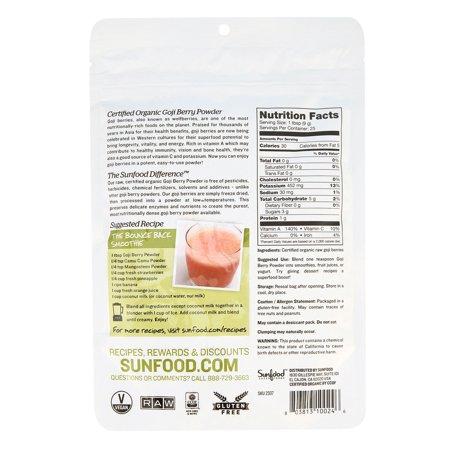 Sunfood Superfoods Organic Goji Berry Powder, 8.0 Oz