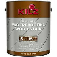 KILZ Solid Color Wood Stain Exterior Paint, Tintable Base, White, 1 Gallon