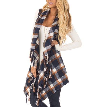 Spring Autumn Women Plaid Print Casual Vest Tops with Tassels Plaid Print Vest