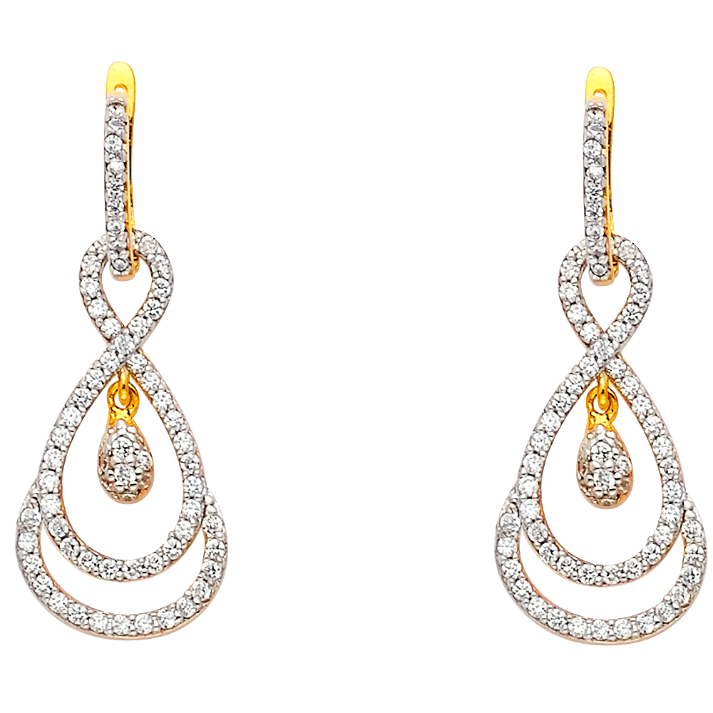 Details about  /14k Yellow Gold Flower Lever-backs for Earrings