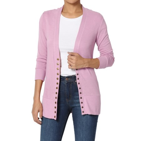 TheMogan Women's & PLUS Basic Snap Button V-Neck 3/4 Sleeve Knit Cardigan - Grease Jacket Pink Ladies