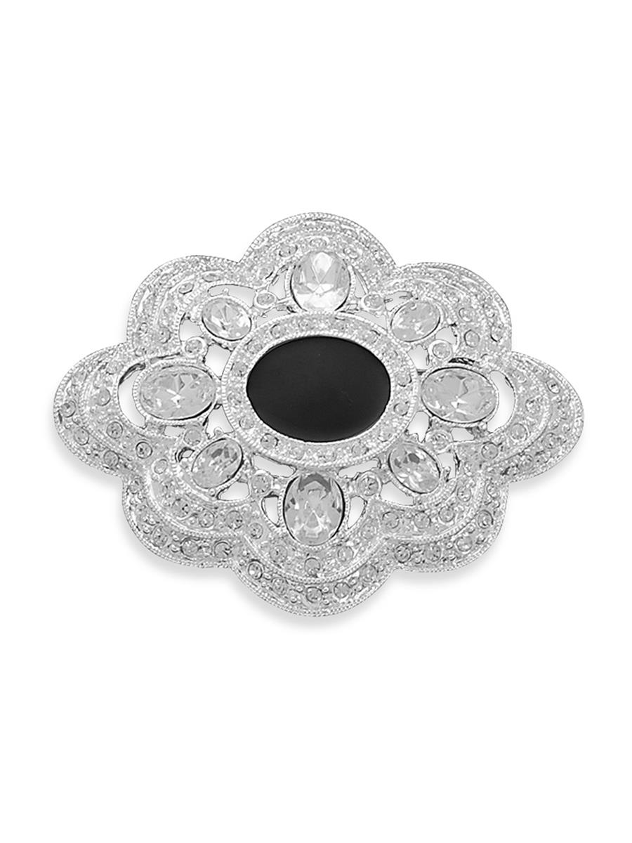 Vintage Chic Antique-look Pin Black Epoxy Silver-plated Accented with Crystals by unknown