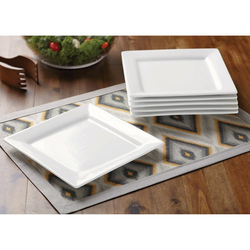 Better Homes and Gardens Square Salad Plates, White, Set of 6