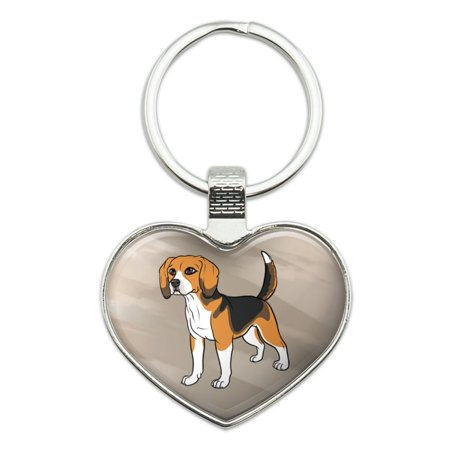 Beagle Keychain (Beagle Pet Dog Heart Love Metal Keychain Key Chain)
