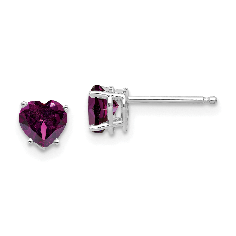 14k White Gold 5mm Heart Rhodolite Red Garnet Post Stud Earrings Love Fine Jewelry Gifts For Women For Her - image 2 de 2