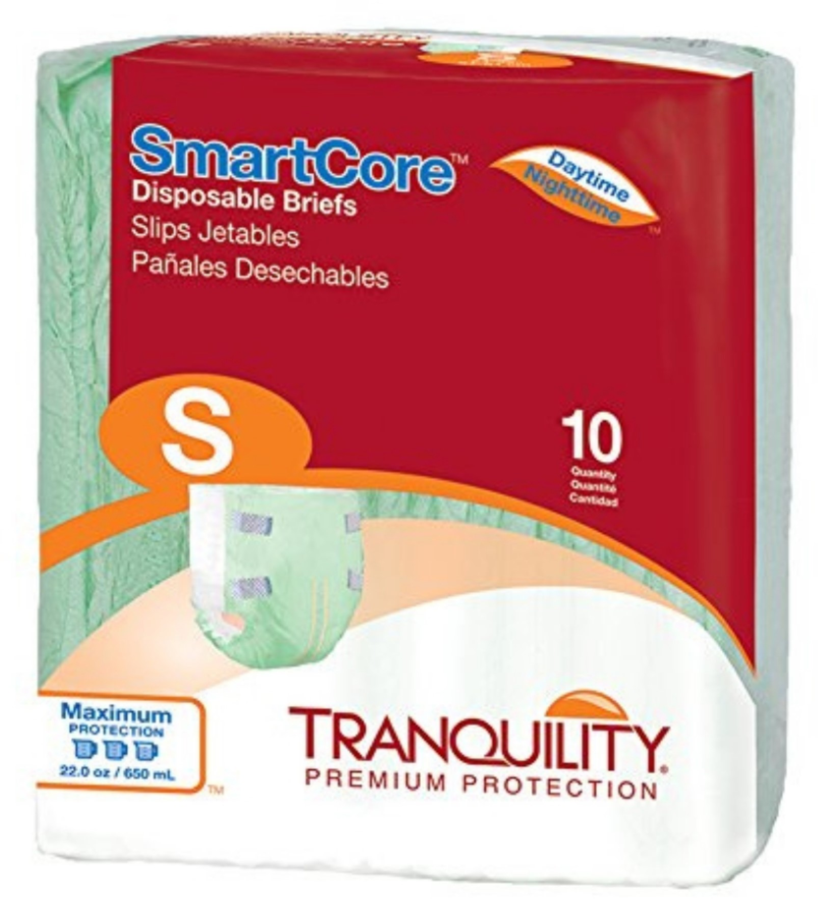 Adult Incontinent Brief Tranquility SmartCore Tab Closure Small Disposable Heavy Absorbency - 10 ea