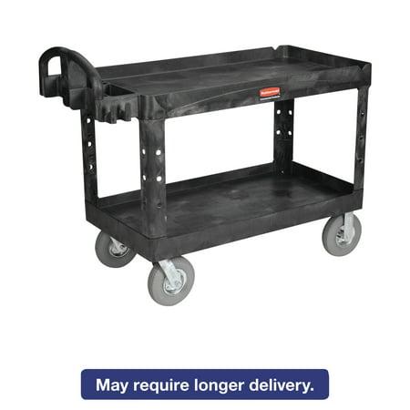 Rubbermaid Commercial Heavy-Duty Utility Cart, Two-Shelf, 25-1/4w x 54d x 39-1/4h, Black