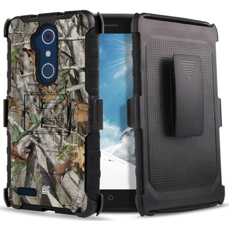 ZTE Blade X Max Camo Case, AUTUMN CAMOUFLAGE LEAF/TREE REAL WOODS RUGGED CASE + BELT CLIP HOLSTER STAND FOR ZTE BLADE X MAX (Z983), BLADE MAX 3