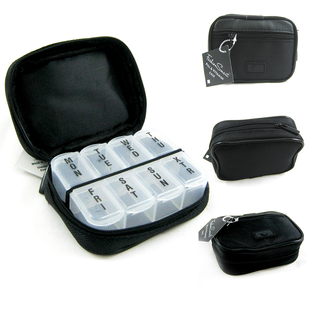 7 Day Sorter Pill Vitamin Medicine Weekly Travel Organizer Box In Zippered Case