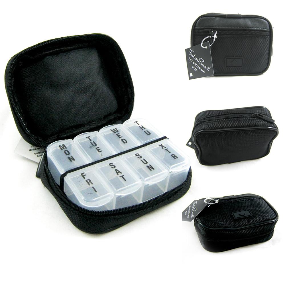 7 Day Sorter Pill Vitamin Medicine Weekly Travel Organizer Box In Zippered Case