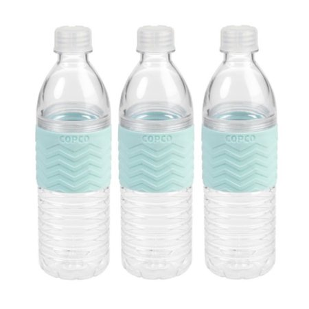 3 Pack Copco Hydra Sports Water Bottle With Non Slip Sleeve - Spill Resistant, BPA Free Plastic, Reusable 16.9 Oz - Robins Egg Blue 3 Pack Sport Slip