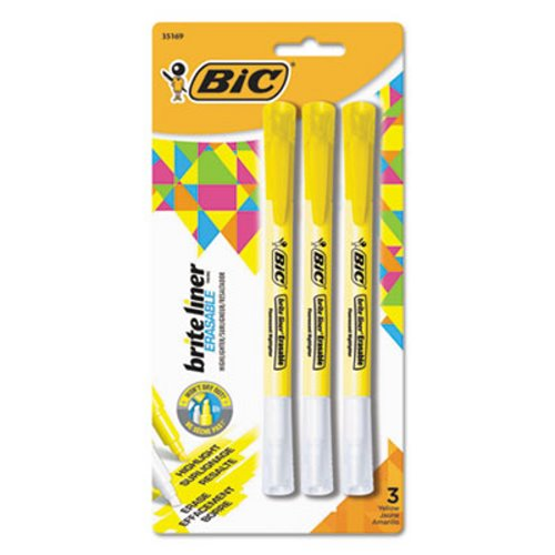 Bic Brite Liner Erasable Highlighters, Fluorescent Yellow, 3/Pack (BICBLERP31YW)