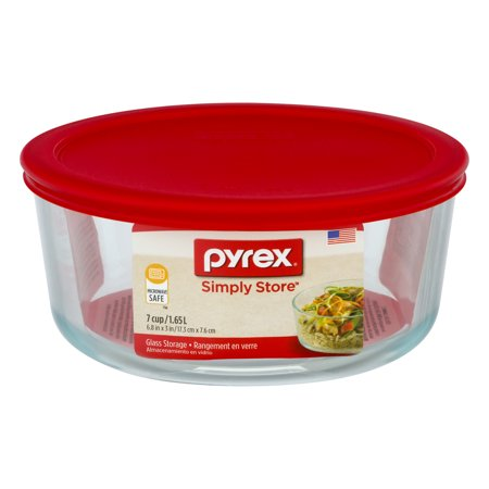 Pyrex Storage Plus 7 Cup Round Glass Storage Dish with Red Plastic Cover (12 Cup Glass Container)