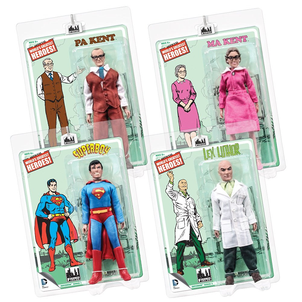 Superman Retro 8 Inch Action Figures Series 3: Set of all 4
