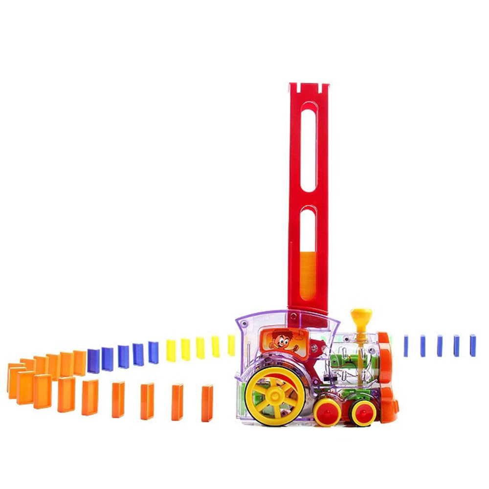 DORUOD 60 Pcs Domino Train Blocks Set Domino Train Model with Light and Sound Creative Gifts for Kids Construction and Stacking Toys
