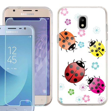 Phone Case for Samsung Galaxy J3 Orbit / J3 Star / J3 Achieve / Express Prime 3, Slim-Fit TPU Case with Tempered Glass Screen Protector, by OneToughShield ® - Ladybug