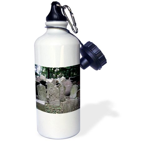 3dRose Gray headstones in cemetery in Prague - grey graveyard grave stones - creepy spooky gothic halloween, Sports Water Bottle, 21oz