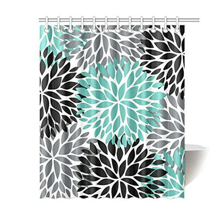 MKHERT Dahlia Pinnata Flower Teal Black Gray Waterproof Shower Curtain Decor Floral Fabric Bathroom Set 60x72 inch (Shower Curtain Teal Grey)