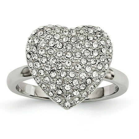 - Mia Diamonds Stainless Steel Polished with Preciosa Crystal Heart Ring Size - 6