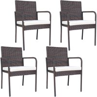 Costway 4 PCS Outdoor Patio Rattan Dining Chairs Cushioned Sofa with Armrest Garden Deck
