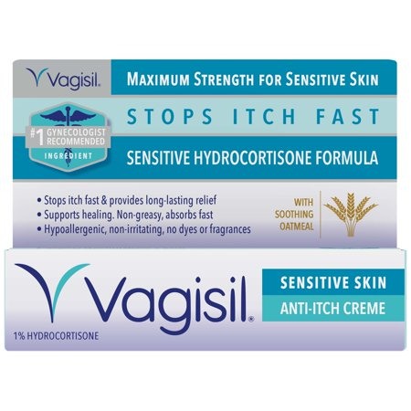 (2 pack) Vagisil Anti-Itch Vaginal Creme, Maximum Strength, Sensitive Skin Formula with Hydrocortisone and Soothing Oatmeal, 1 Ounce 1 Ounce Skin Mat