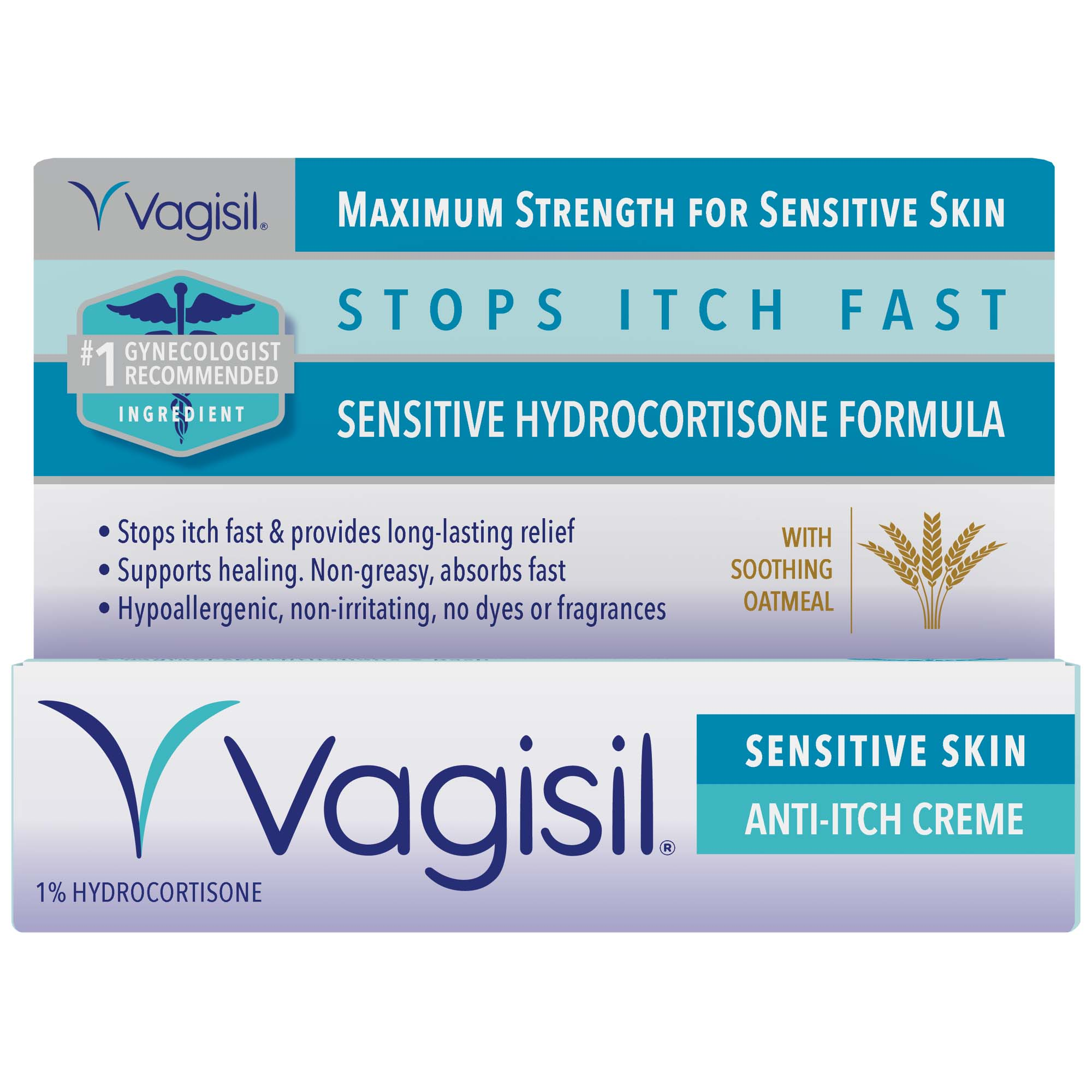 (2 pack) Vagisil Anti-Itch Vaginal Creme, Maximum Strength, Sensitive Skin Formula with Hydrocortisone and Soothing Oatmeal, 1 Ounce
