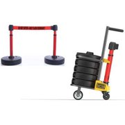 BANNER STAKES PL4079 Plus Barricade System,15 ft. L,Red,Metal G1585529
