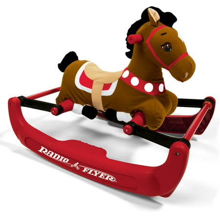 Brown Rocking Horse - Radio Flyer, Soft Rock & Bounce Pony with Sounds, Rocking Horse