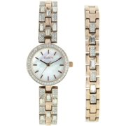 Women's Round MOP Dial Analog Watch and Bracelet Set, Gold and Crystal Pattern Bracelet