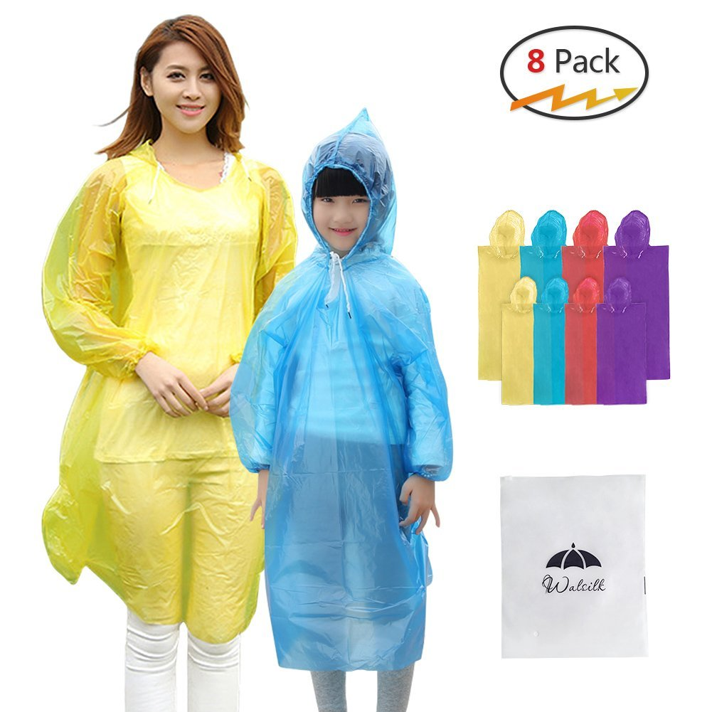 8 Pack Disposable Rain Ponchos with Drawstring Hood & Sleeve,4 Pack Adult Ponchos + 4 Pack Kids Ponchos for Family... by