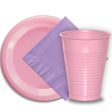 """50 Pink Plastic Plates (9""""), 50 Pink Plastic Cups (12 oz.), and 50 Lavender Paper Napkins, Dazzelling Colored Disposable Party Supplies Tableware Set for Fifty Guests."""