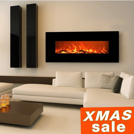 Electric Fireplace Wall Mount Burning Sound & Realistic Flame EZcheer 50 Inch Black Heater