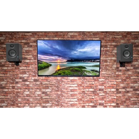 pair presonus eris e3 5 3 5 powered studio monitor speakers wall mount brackets. Black Bedroom Furniture Sets. Home Design Ideas