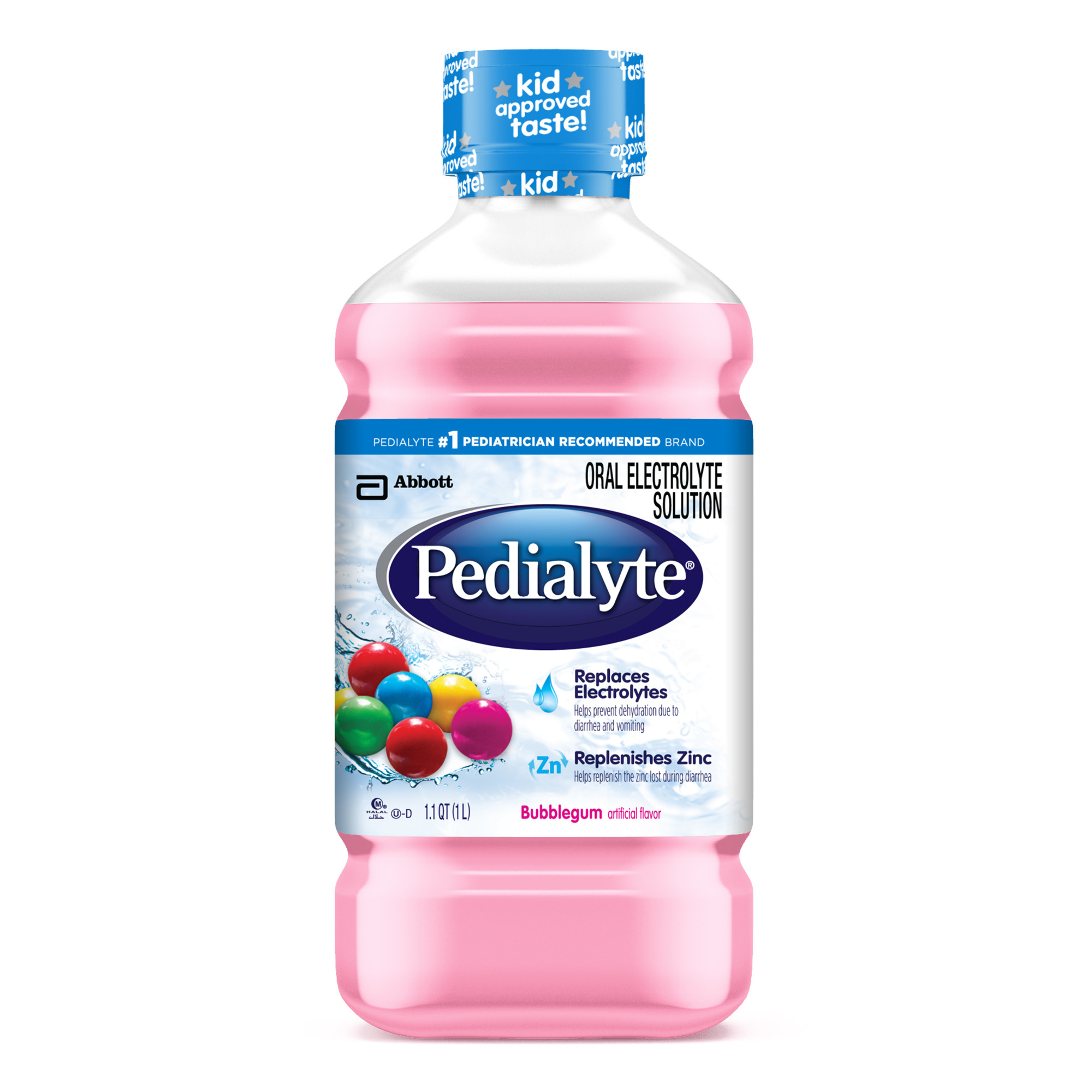 Pedialyte Oral Electrolyte Solution, Bubble Gum, 1-L