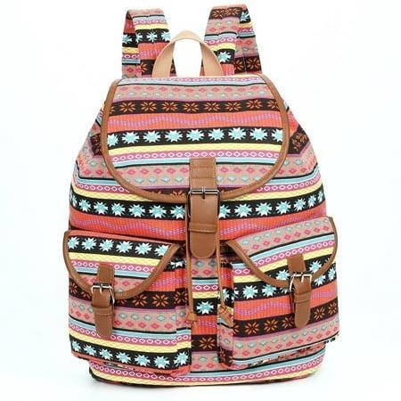 Girls Purple Motif Print Flap Pockets Cotton Canvas Backpack