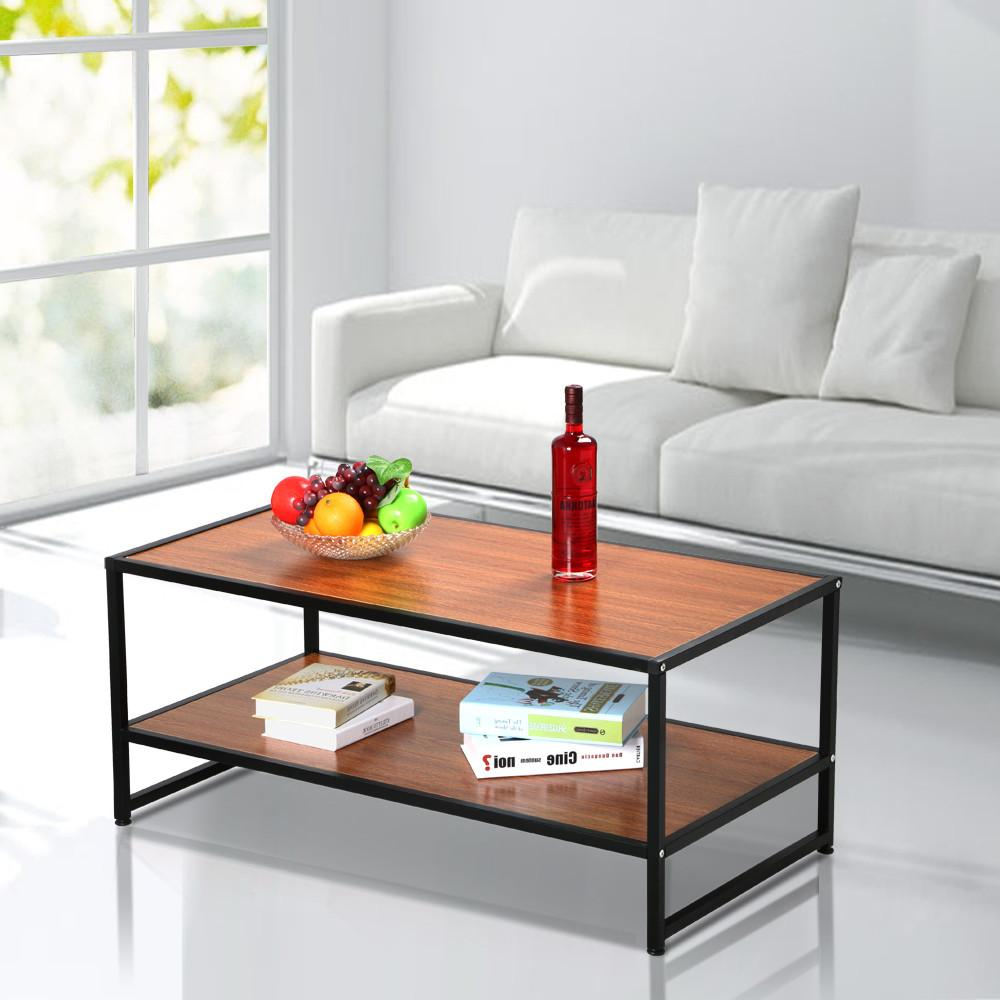 Yaheetech Modern Living Room 2 Shelf/Tier Large Rectangle Wood Coffee Table Metal