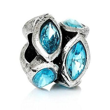 Rhinestone Birthstone w/  Crystal Ovals Charm Bead (December)
