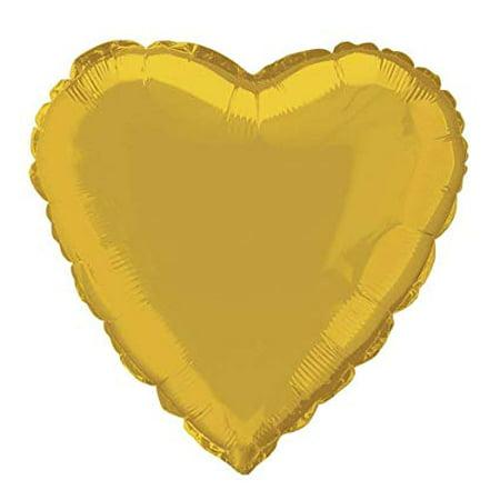Foil Balloon, Heart, 18 in, Gold, - Gold Foil Balloons